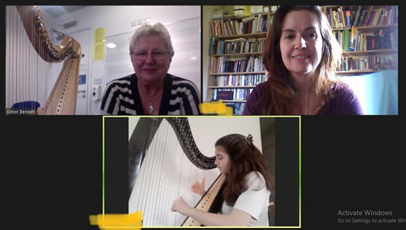 Switch to online classes enables top harpist to teach protégé 7,500 miles away in Patagonia